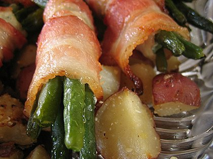 bacon wrapped green beans and garlic herb roasted potatoes