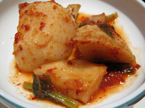 Surah Korean Restaurant, ggak du ghee, radish kimchi