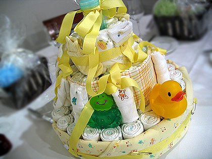 Baby Shower Dipaer Cake Yellow