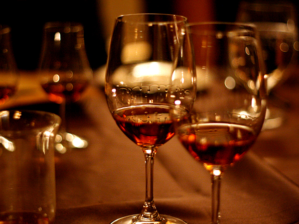 Hardy Cognac, wine glasses