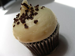 Yummy Cupcakes, Santa Monica - Chocolate Mini Cupcakes with Mocha Buttercream Frosting and Chocolate Sprinkles