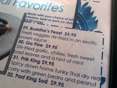 Cholada Thai Beach Cuisine Prik King on Menu