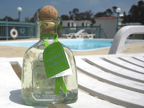 Patron Tequila Silver bottle at the pool, Summer 2009