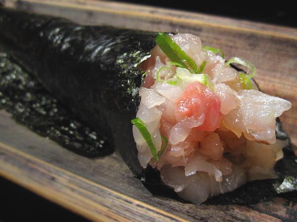 Kiyokawa, Sushi Omakase - Hamachi Handroll, closeup