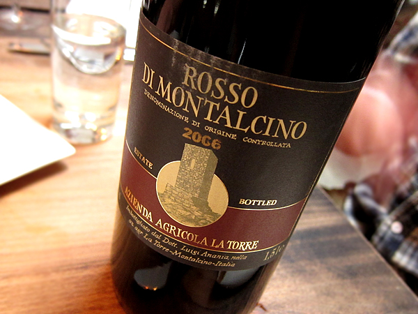 Rosso di Montalcino 2006 wine for Vegetable Dinner