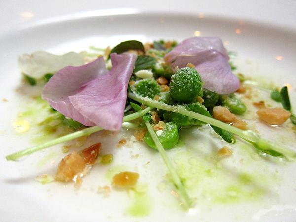 Peas in Pea Shell Consomme, Vegetable Dinner, Animal Restaurant