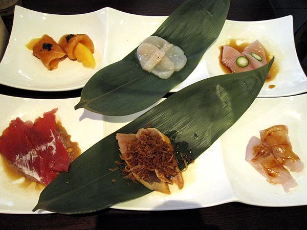 Kanpai Sushi - Sashimi Starter Plate: salmon, scallops, hamachi, hirame, albacore, tuna