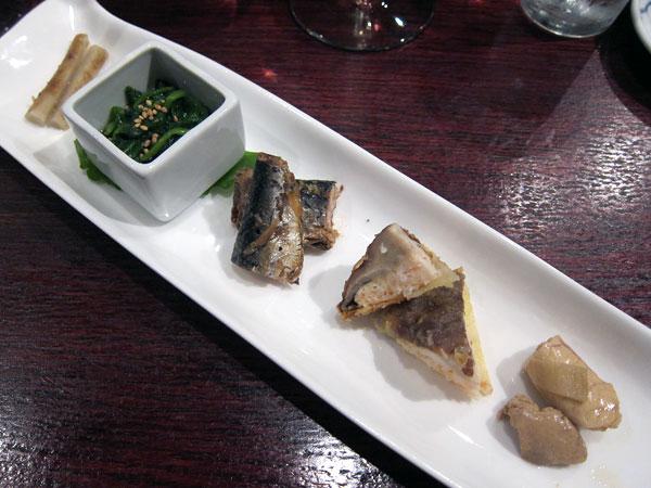 Jinpachi - Omakase, Gobo Ohitashi Sardine Shiitake Hirame