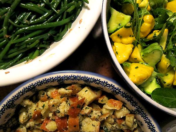Montevertine Dinner - Green Beans, Squash, Bread Salad