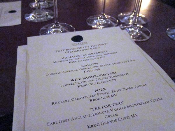 Krug Champagne Dinner at xiv restaurant, west hollywood - menu