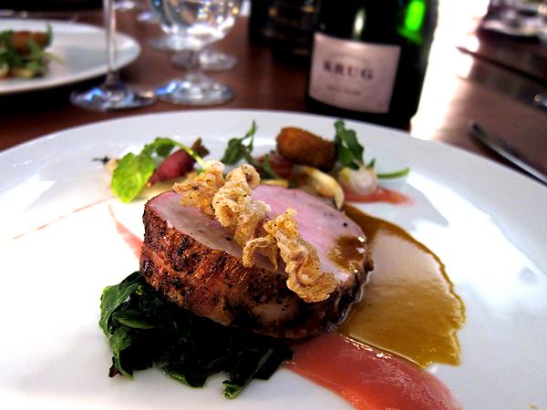 Krug Rose Champagne with Pork Tenderloin at xiv restaurant