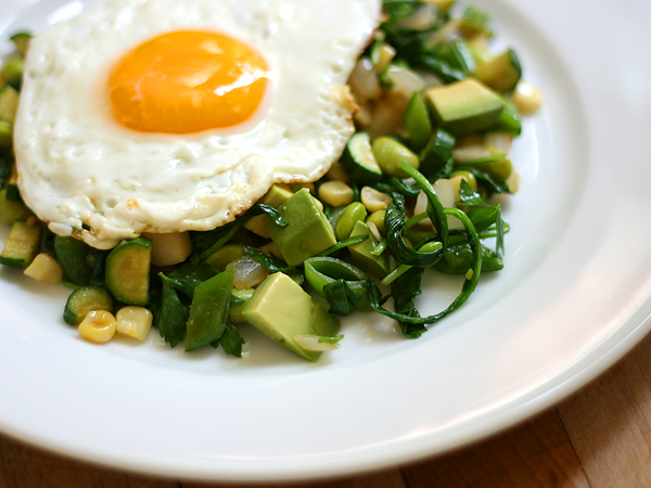 green vegetables with fried egg