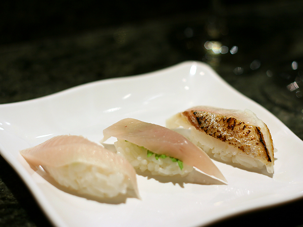 Sushi Park: hamachi, kanpachi, black snapper