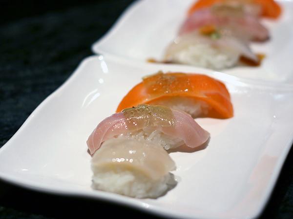 Sushi Park: scallop, white salmon, salmon