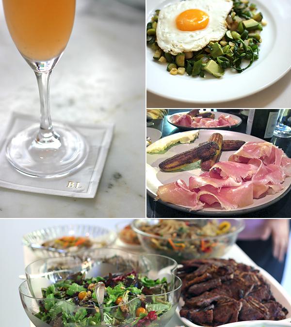 bellini, fried egg on greens, ham, korean food