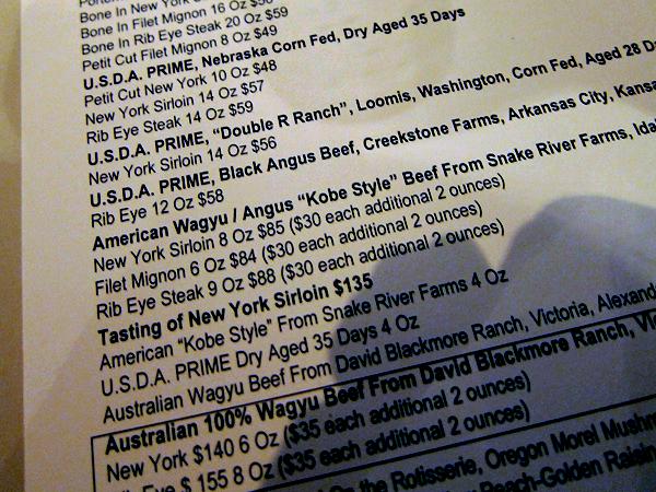 Cut, Beverly Hills - steak menu