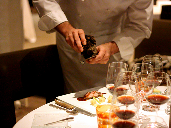 Patina Truffle Tasting: chef shaving truffles