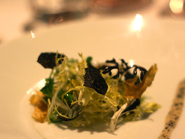 Patina Truffle Tasting: Duck Foie Gras Terrine Frisee with Truffle Vinaigrette