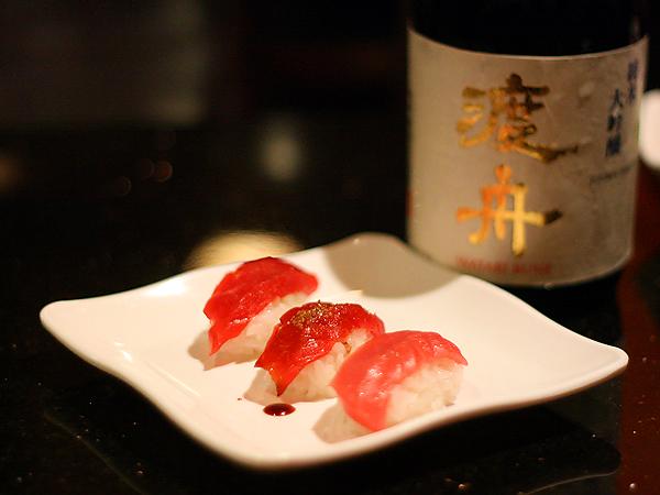 Sushi Park - Bluefin Tuna Sushi with Watari Bune Sake