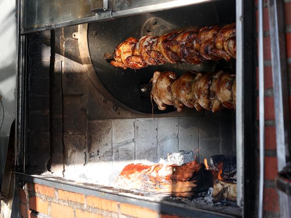 Polla a la Brasa - chickens in rotisserie oven