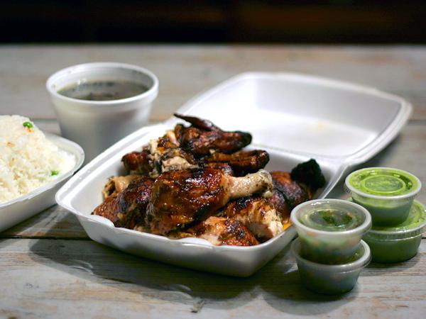 Polla a la Brasa, koreatown - whole roast chicken with 2 sides