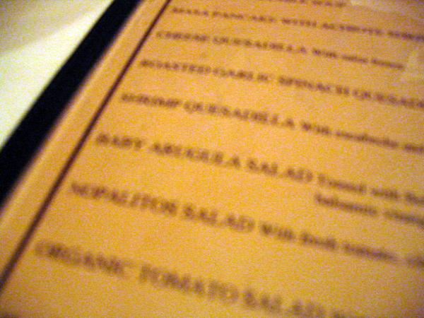 Tlapazola - menu