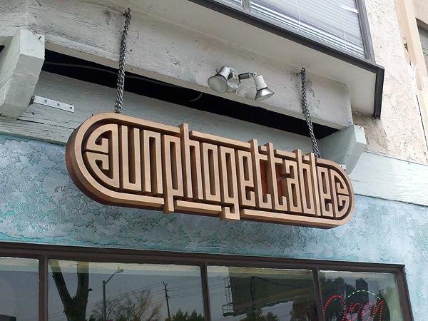 Unphogettable restaurant - sign