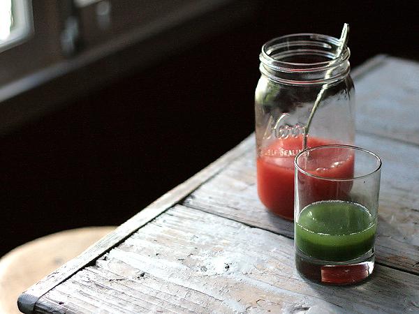 watermelon juice and green juice