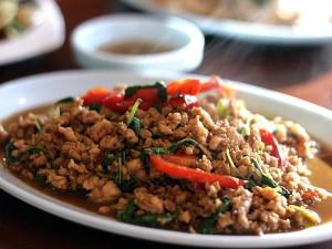 Ruen Pair Thai restaurant - miched pork with basil