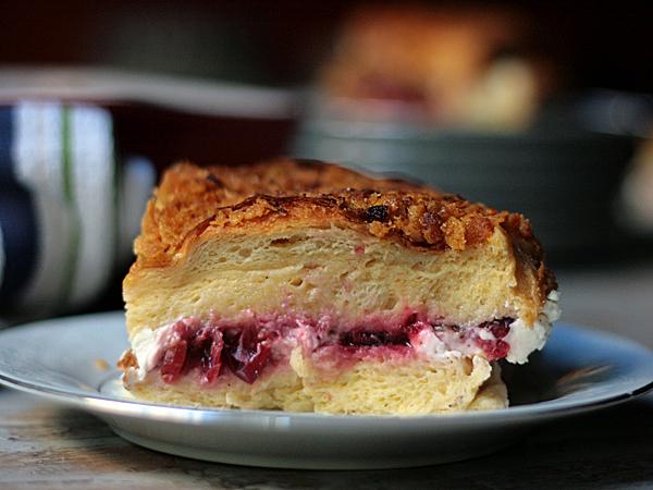 cranberry cream cheese stuffed brioche french toast casserole