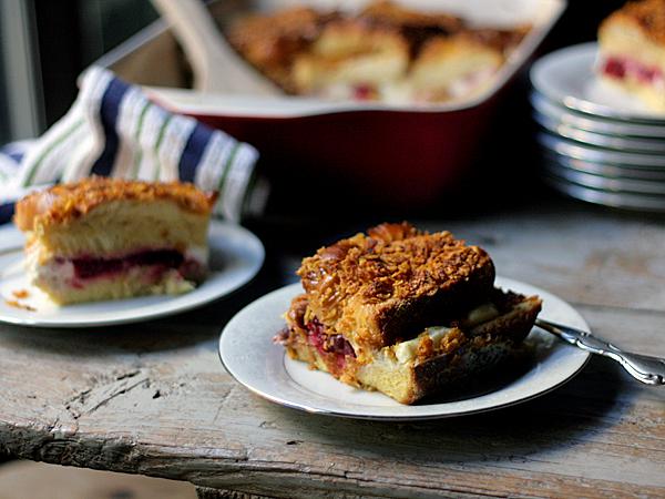 cranberry cream cheese stuffed french toast casserole
