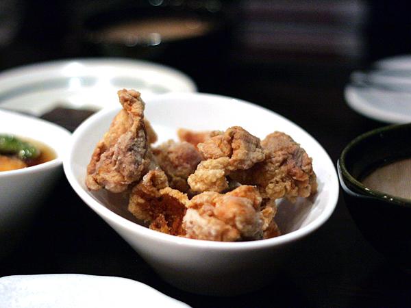 soba sojibo, chicken karaage