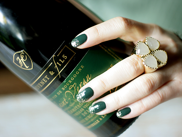 Thevenet Saint Veran Wine, green + gold glitter mani