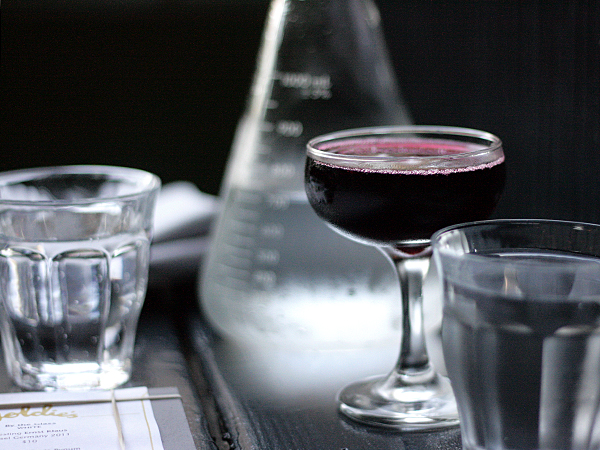 Goldie's LA - sparkling water beaker, sparkling lambrusco in coupe