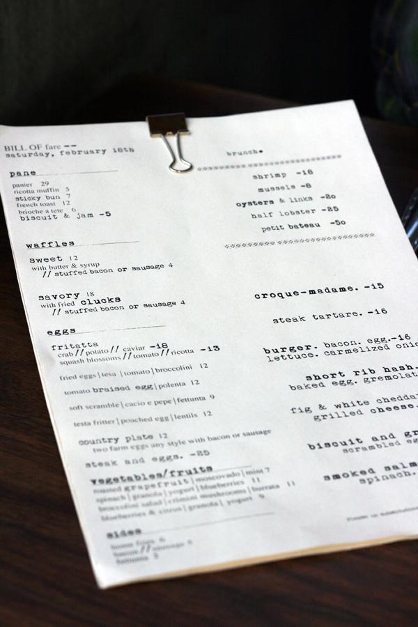 tasting kitchen - brunch menu