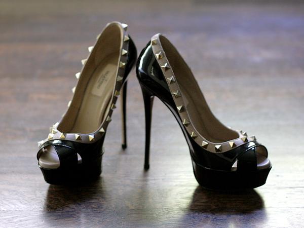 Valentino Rock Stud Peep Toe, Black Patent