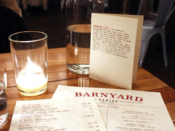 Barnyard restaurant, Venice CA - menus