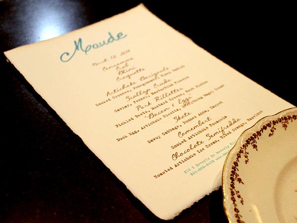 Maude restaurant by Curtis Stone, menu