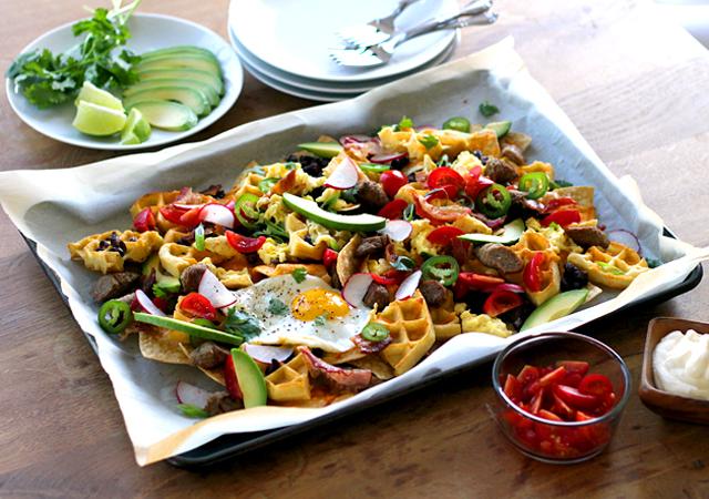 waffle breakfast nachos