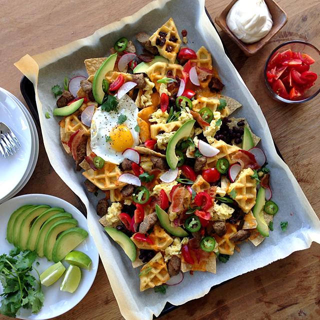 breakfast nachos with waffles