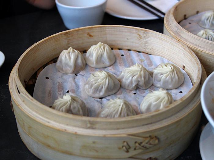 Pork xiao long bao/juicy dumplings at new Din Tai Fung South Coast Plaza, Orange County, CA