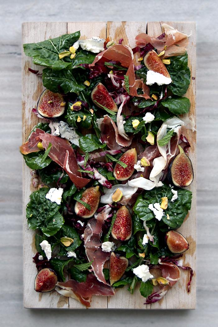 fig arugula prosciutto pistachios humboldt fog goat cheese salad