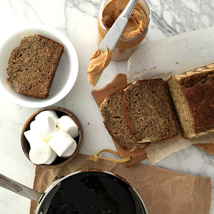 banana bread, cooks illustrated recipe, with peanut butter and marshmallows