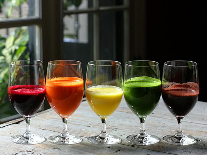 rainbow juice in glasses