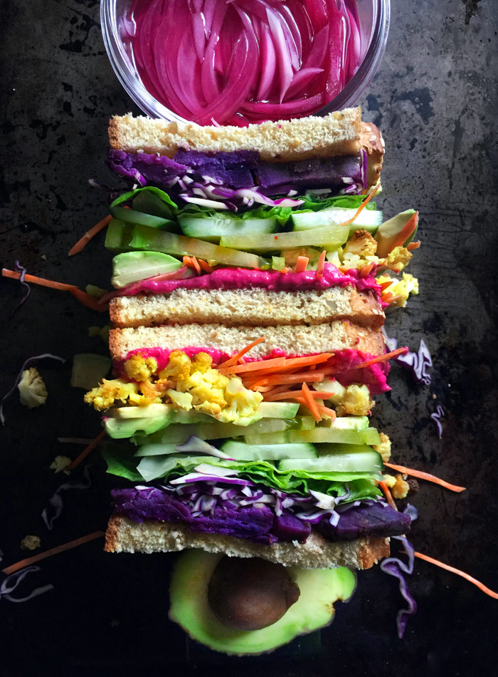 rainbow vegetable sandwich, vegan