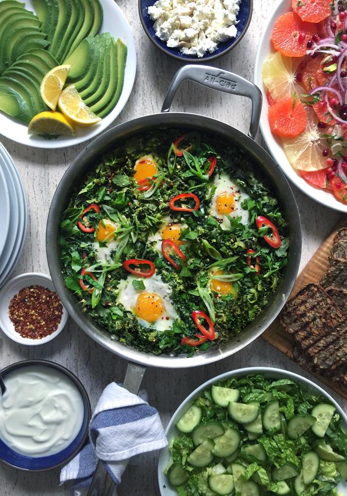 green shakshuka with chard kale zucchini