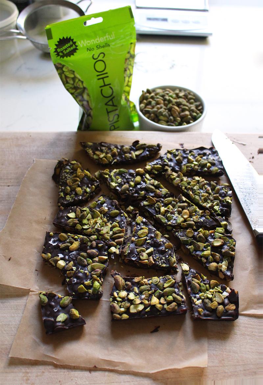 pistachio sea salted dark chocolate bark