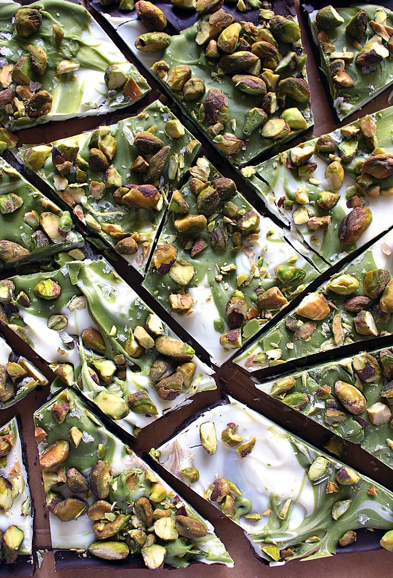 matcha pistachio sea salted dark chocolate bark