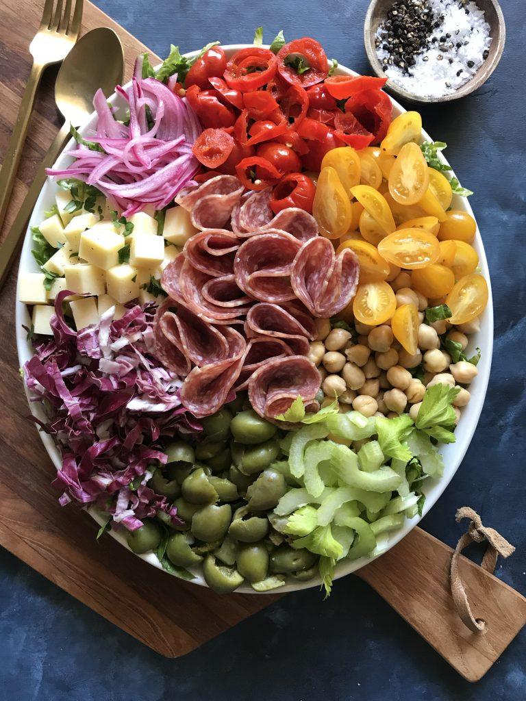 antipasto chopped salad, composed