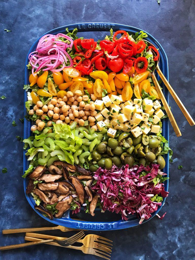 antipasto chopped salad blue tray